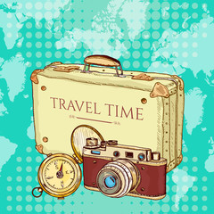 Tourism suitcase old camera compass vector pop art
