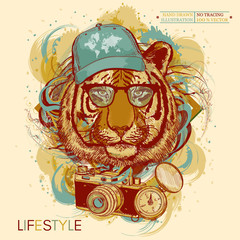 Tiger hipster hand drawn animal art print