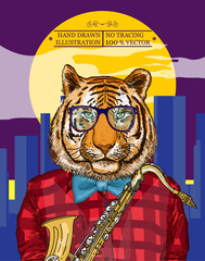 Tiger plays jazz on the saxophone in the night city poster