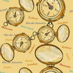 Old compass seamless pattern hand drawn vector