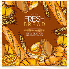Bakery products pastries fresh bread wheat ears fresh rolls