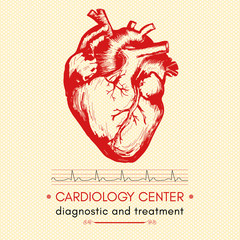 Human heart medical symbol of cardiology logo cardiology center