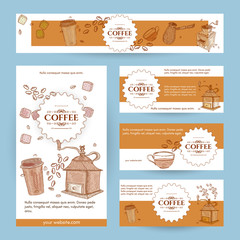 Coffee menu template banner page flyer hand drawn vintage sketch