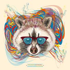 Raccoon hipster realistic portrait hand drawn animal