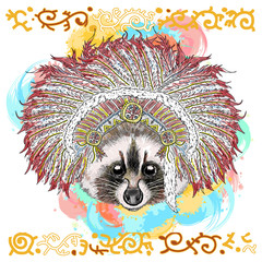 Raccoon portrait native american hand drawn vector illustration