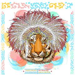 Tiger portrait native american hand drawn animal