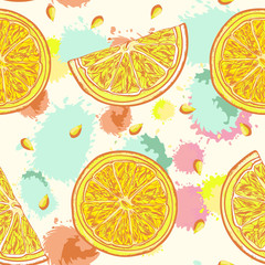 Lemon vector seamless pattern hand drawn