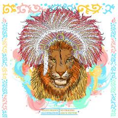 Lion portrait native american hand drawn animal