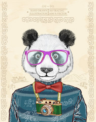 Panda vector hipster animals hand drawn fashion illustration