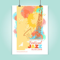 Jazz festival poster template jazz music cover saxophone