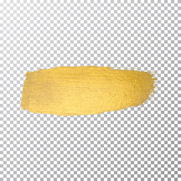 Vector gold paint smear stroke stain. Abstract gold glittering