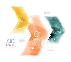 Air light glossy design of arrows. Web info box or ui menu element