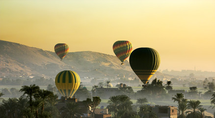 Egypt. Hot-air balloons over the West Bank at Luxor early morning