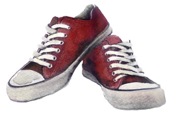 watercolor sneakers on a white background