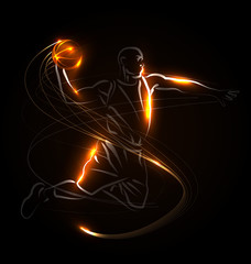 Vector illustration basketball player on dark background