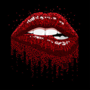 red sparkles lips