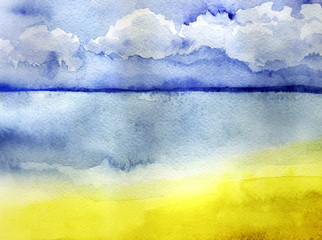 watercolor sketch of the landscape