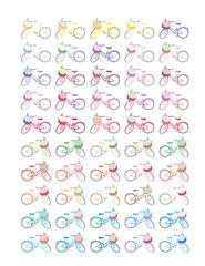 Vintage bicycle with flower basket,Minimalistic Set elements,colorful,vector,eps,adobe illustrator,planner printable,journaling,scrapbook,sticker.Retro,letter size vector