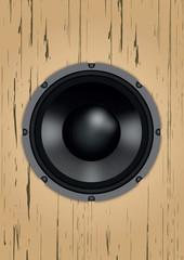 Speaker on the wooden box