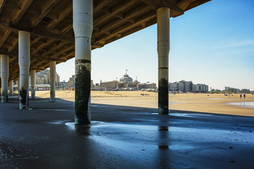 Under the Scheveningen pier overlooking the North Sea