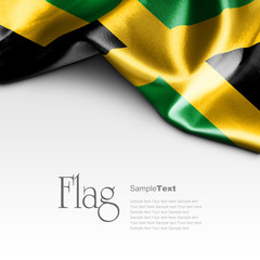 Flag of Jamaica on white background. Sample text.