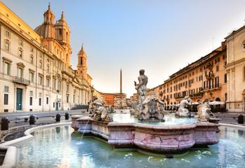 Poster Rome Piazza Navona, Fontana del Moro, 1654, Roma