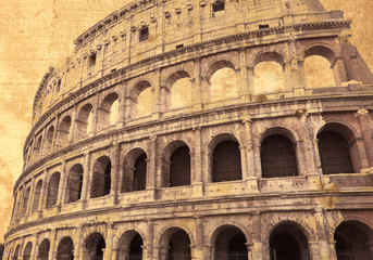Italy. Rome. The famous amphitheater Colosseum in retro style.