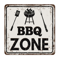 BBQ Barbecue zone vintage rusty metal sign