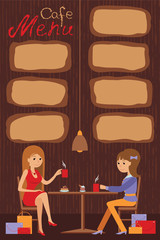 Two beautiful women are sitting in a cafe. Vector illustration of template  menu, brochure, flyers cafe or restaurant.