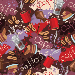 Spots background with scattering of coffee beans and lettering. Seamless colorful pattern.