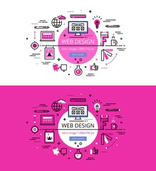 Web Design. Flat line color hero images and hero banners design