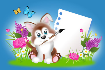 Cute puppy with blank sheet of paper between spring flowers
