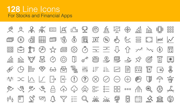 Stocks trading and Financial icon set for apps
