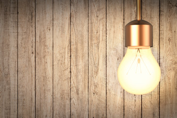 hanging light bulb with wooden wall background