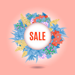 """vector image with inscription """" sale"""" and with flowers"""