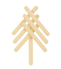 tree made from wood ice-cream stick isolated on white background