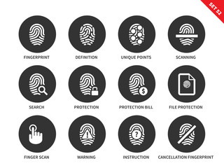 Dactylogram icons on white background