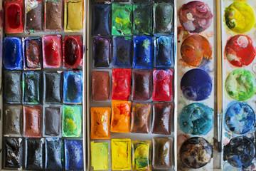 Watercolors boxes multicolor background