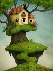 Fantasy illustration for greeting card or  poster with  house on  tree