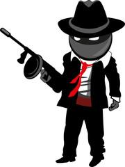 Cartoon Gangster in Noir style