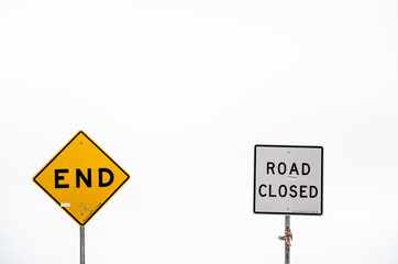 road signs, end and road closed
