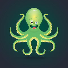 Vector cartoon octopus illustration