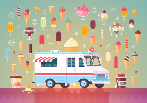 Flat vector ice cream icons and ice cream truck. Colorful premium concept illustration.