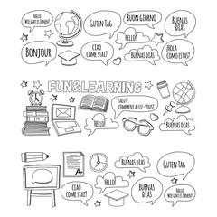 Language school Doodle vector set