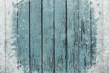 Old wooden texture background with snow effect
