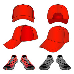 Colored sneakers & baseball cap set