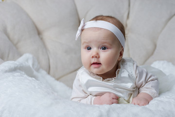 cute baby on bright background