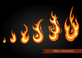 Vector effect. Effect for game. Explode animation. Cartoon explosion frames