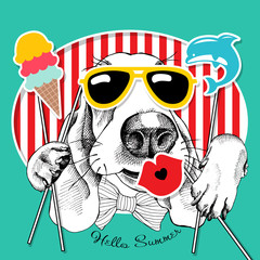 Festive poster with the portrait of the dog Basset Hound with the summer photo booth props. Vector illustration.