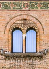 Mullioned medieval window.